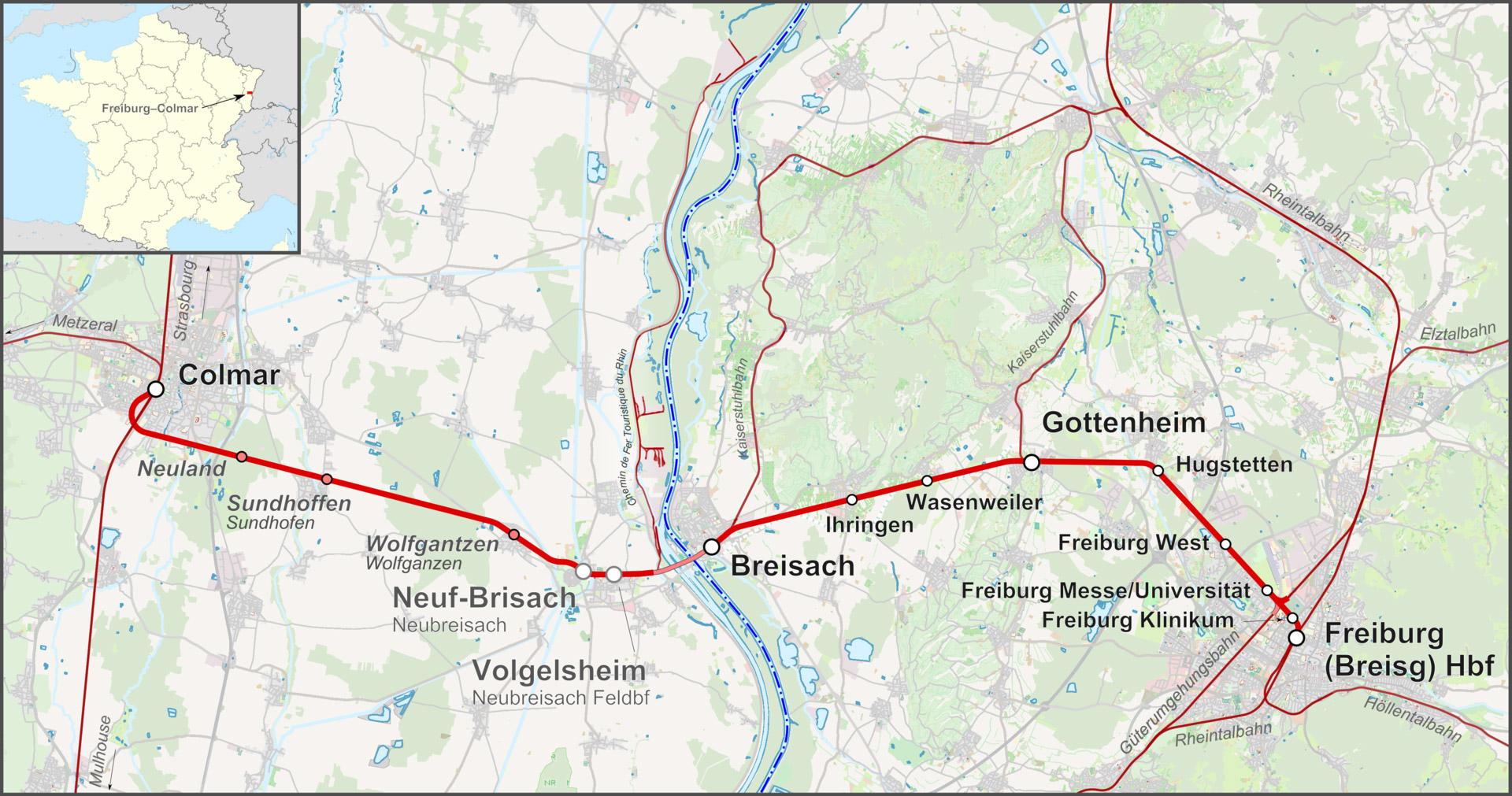Verlauf der geplanten Strecke Colmar-Freiburg.